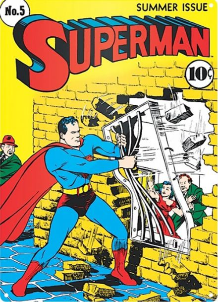 Superman Comic Poster No 5 - A3 Metal Wall Sign